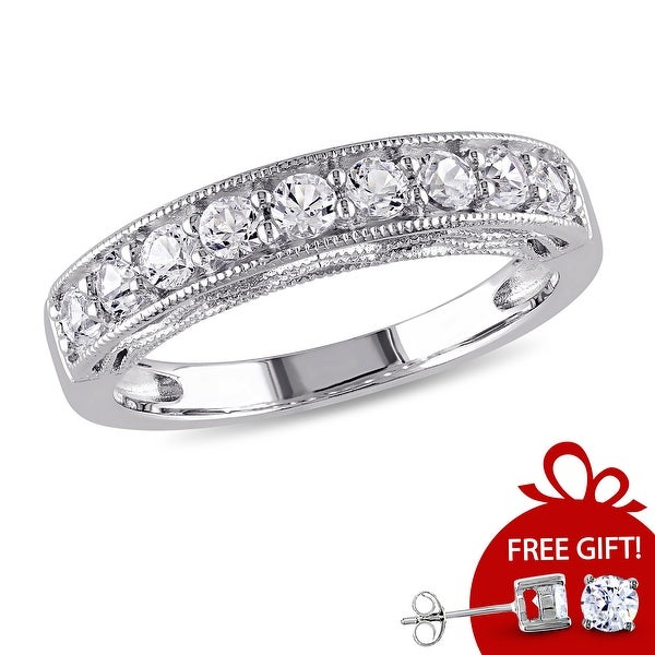 Miadora Sterling Silver White Sapphire and Gemstone Stackable Anniversary Ring. Opens flyout.