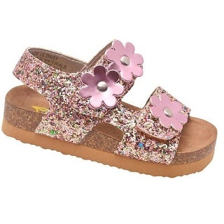 Rachel Shoes Little Girls Multi Glitter Pink Flower Cork Sandals