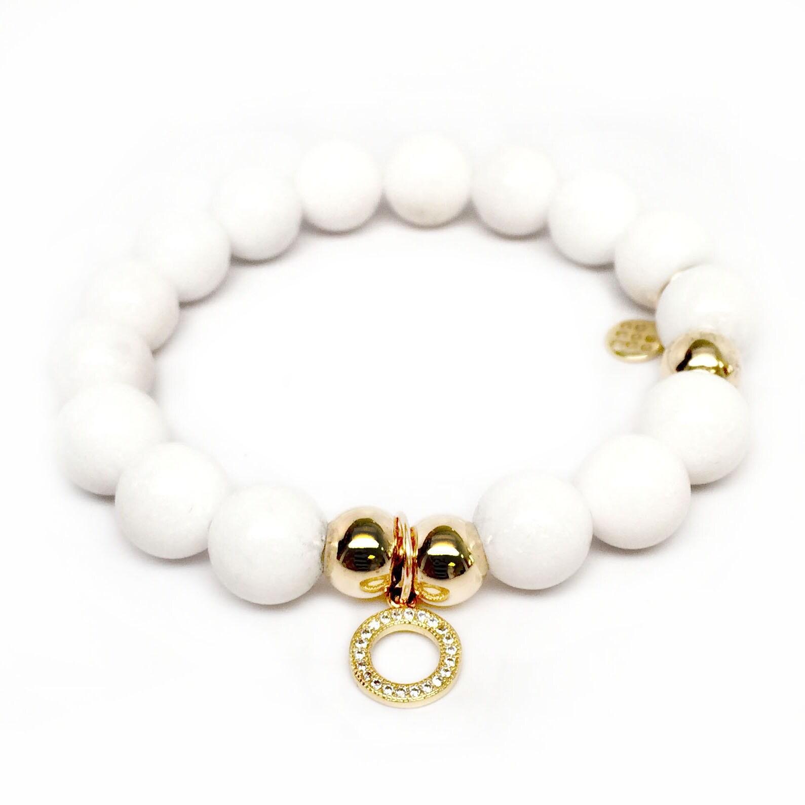 "White Jade Circle Charm 7"" Bracelet - Thumbnail 0"