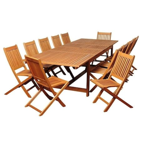 Barrett 13-Piece Outdoor Dining Set Eucalyptus Extendable Rectangular Patio Furniture