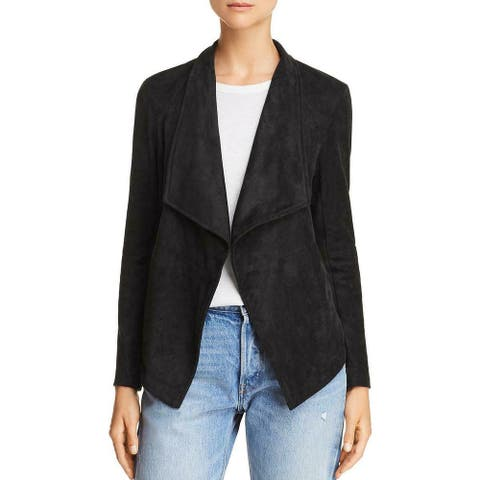 BB Dakota Womens Jacket Black Size Small S Faux Suede Open Front Lace Up