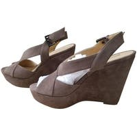 Michael Michael Kors Womens becky suede Suede Open Toe Ankle Strap Wedge Pumps