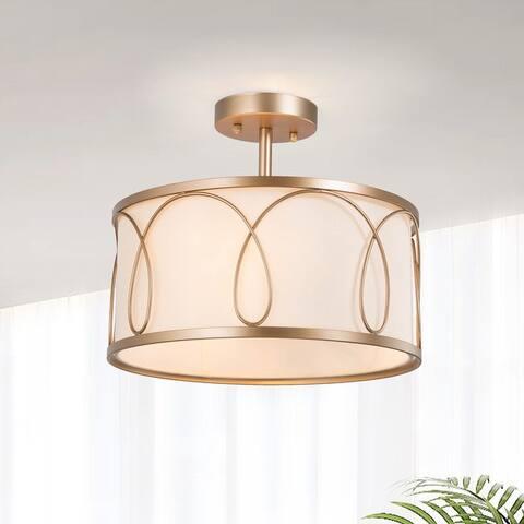 Bella Modern 3-light Drum Semi-Flush Mount Lights Off-white Fabric Chandelier - L13.8'' x W13.8'' x H11.8