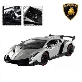 Costway 1:14 4CH Lamborghini Veneno RC Car Radio Remote Control w/ Open Doors Sliver