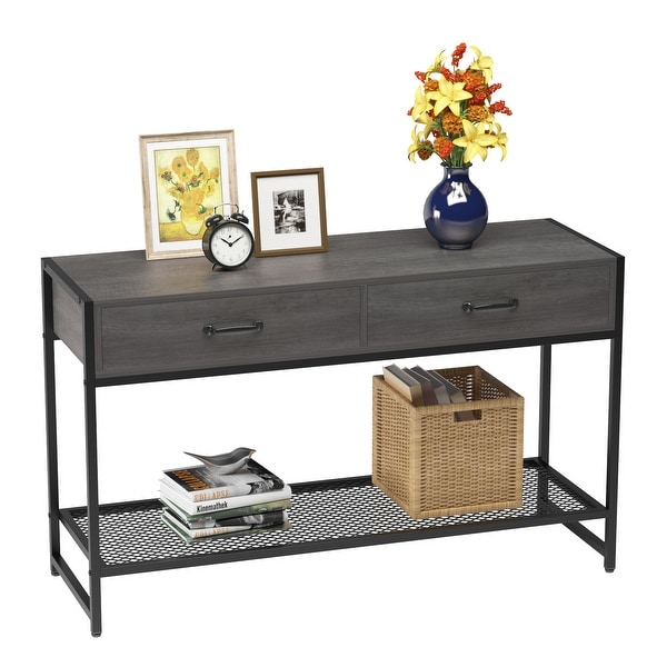 Elephance Sofa Console Table with 2 Drawers, 47 inch TV Stand for Living Room - Antique Oak. Opens flyout.