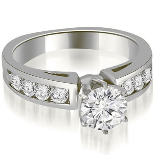 1.40 cttw. 14K White Gold Round Cut Diamond Engagement Ring