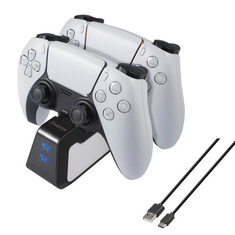 USB-C Upgraded Fast Charging Station with LED Indicator Compatible With PS5 Controller, Black / White