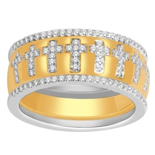 Diamond Wedding Band 0.33ctw 10K Yellow Gold Two Tone 8.5mm Extra Wide