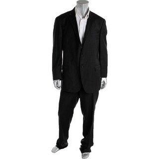 Hart Schaffner Marx Mens Wool Notch Collar Two-Button Suit - 48L