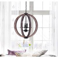 21-inch Distressed Weathered Oak Wood 4-Light Orb Chandelier
