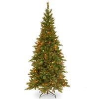 7.5' Tiffany Fir Medium Artificial Christmas Tree - Multi-Color Lights - Green