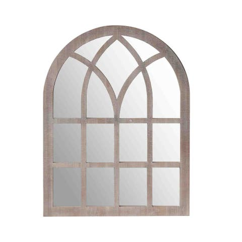 Arched Farmhouse Windowpane Wooden Wall Mirror, Washed Brown