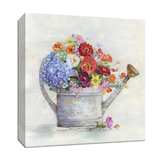 """PTM Images 9-147453  PTM Canvas Collection 12"""" x 12"""" - """"Watering Can Bouquet"""" Giclee Flowers Art Print on Canvas"""