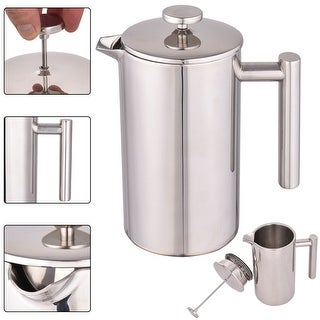 Costway 34 OZ Double Wall Stainless Steel Coffee Plunger 8-Cup French Coffee Press Maker