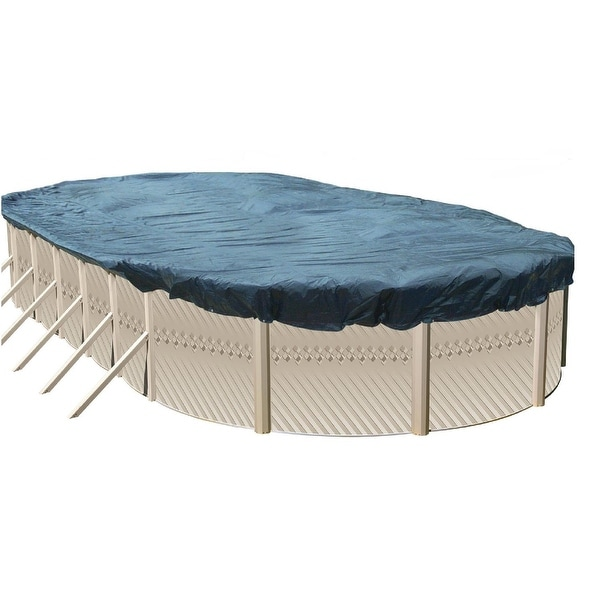 Above Ground Swimming Pool Winter Cover for 33 Ft x 18 Ft Oval Pools - Blue