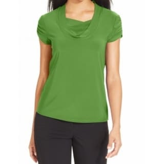 Tahari By ASL NEW Green Women's XL Draped-Neck Ruched-Sleeve Blouse
