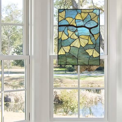 """River of Goods 17.5""""H Ginkgo Leaf Stained Glass Window Panel"""