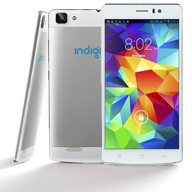 "Indigi® 3G Factory Unlocked V19 Android 4.4 KitKat SmartPhone 5.5"" HD Display + Dual-Core + Dual-Sim + Dual-Camera (White)"