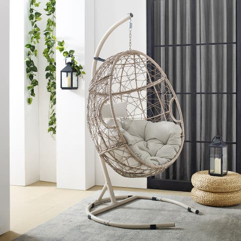 """Cleo Outdoor Wicker Hanging Egg Chair - 42""""W x 42""""D x 81""""H"""