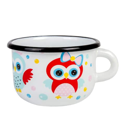 STP-Goods 8.5-oz Owls Enamelware Children's Mug