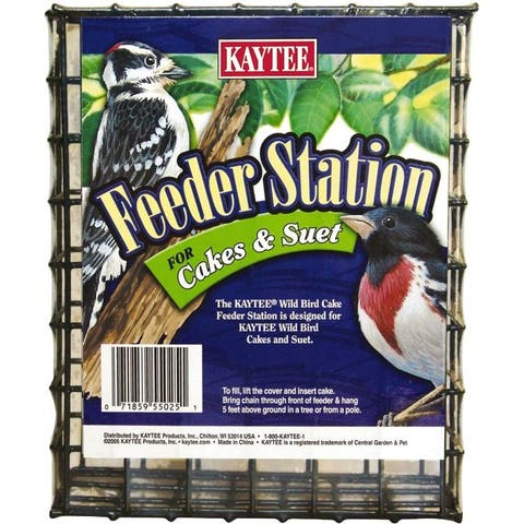 Kaytee 100033936 Large Wire Bird Feeder Station for Cakes & Suet, Green