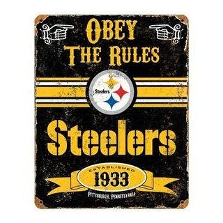 Party Animal Nfl Embossed Metal Vintage Pittsburgh Steelers Sign