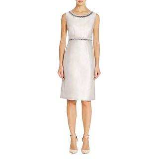Lafayette 148 Womens Bennett Wear to Work Dress Silk Blend Metallic - 14