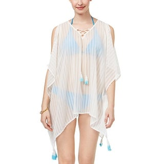 Steve Madden Womens Swimsuit Cover Up One Size White Easy Breezy Poncho