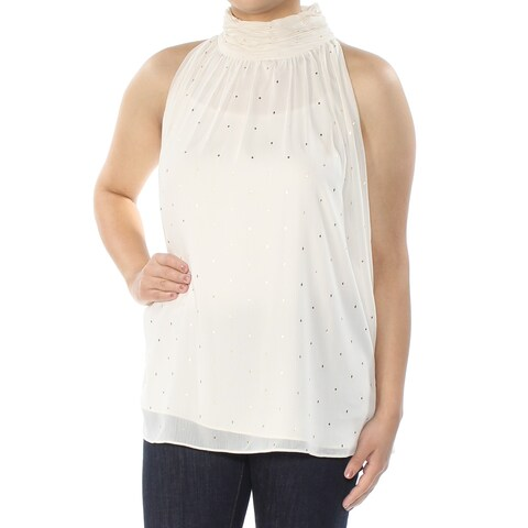 VINCE CAMUTO Womens Ivory Glitter Sleeveless Turtle Neck Top Size: S