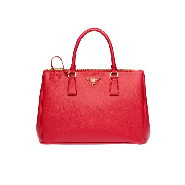 Prada Saffiano Leather Tote Handbag Fuoco