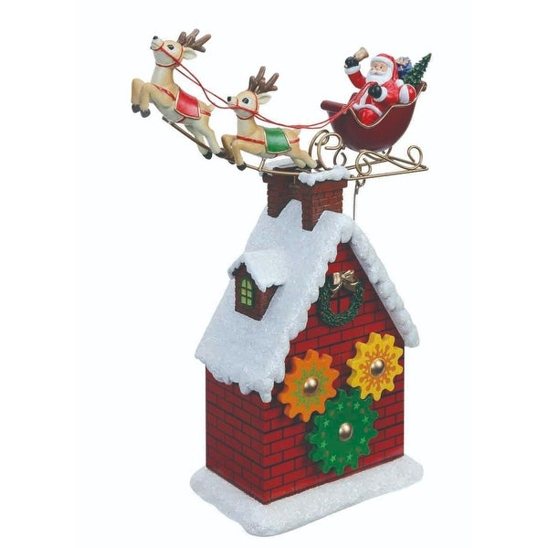 """Pack of 2 Santa and Reindeer Rooftop Gear Table Top Decorations 10.3"""""""
