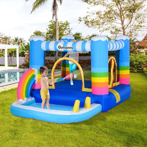 Outsunny 2-in-1 Kids Inflatable Bounce House Jumping Castle with Trampoline and Pool, with Carry Bag & Inflator Included
