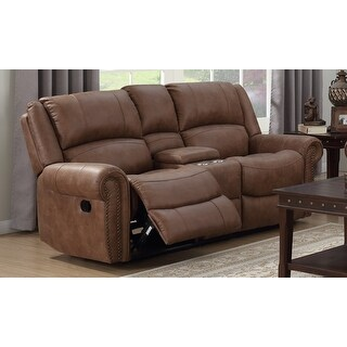 Emerald Home Earl Brown Reclining Loveseat with Faux Leather Upholstery