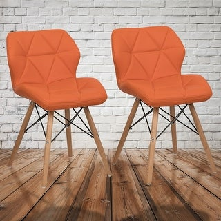 Costway Set of 2 Dining Side Accent Chairs Armless kicthen Chair PU Leather And Wood Legs Orange