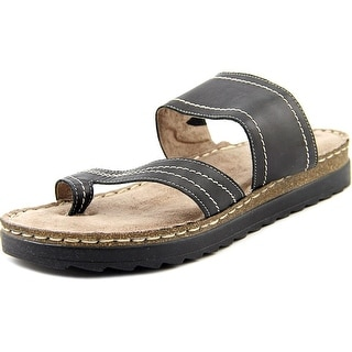 Bella Vita Tivoli Women W Open Toe Leather Black Slides Sandal