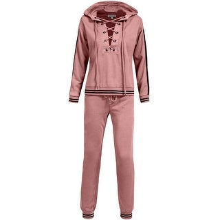 NE PEOPLE Womens Casual Zip Up Hoodie Terry Tracksuit Set-NEWTS12