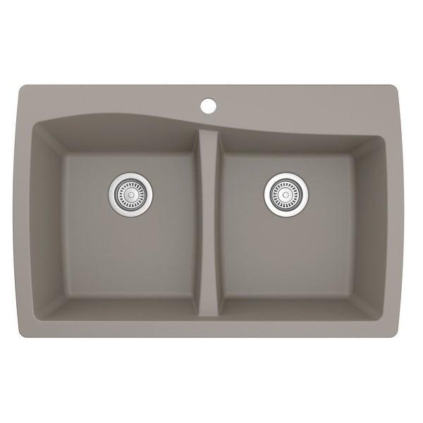 Karran Drop-In Quartz 50/50 Double Bowl Kitchen Sink. Opens flyout.