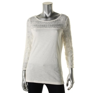 LRL Lauren Jeans Co. Womens Casual Top Lace 3/4 Sleeves - m