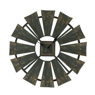 Rustic Vintage Finish Metal Windmill Wall Clock - 15.75 X 15.75 X 0.75 inches