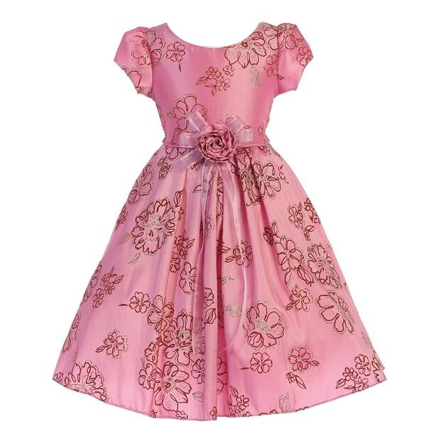 Shop Little Girls Dusty Rose Glitter Pattern Short Sleeve Flower Girl Dress  4 - Free Shipping Today - Overstock - 19767556 b7acee78e152