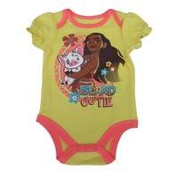 "Disney Baby Girls Yellow Coral Moana ""Island Cutie"" Print Bodysuit"