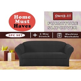 STRETCH FORM FIT - 3 Pc. Slipcovers Set, Couch/Sofa + Loveseat + Arm Chair Covers