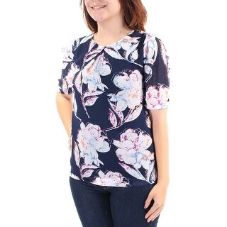 Womens Navy White Floral Short Sleeve Jewel Neck Tunic Top Size 4