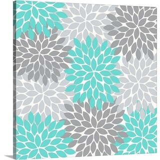 Tamara Robinson Premium Thick-Wrap Canvas entitled Flower Burst Teal Dark And Light Gray