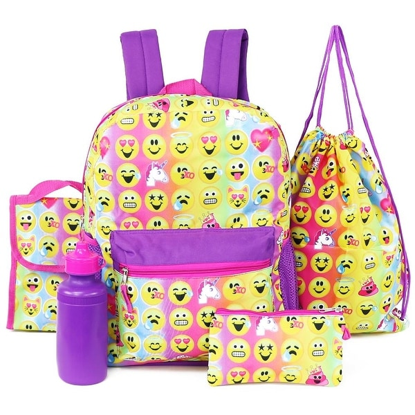959ca876796c Shop Emojination 5 Piece Backpack   School Accessories Set - Free Shipping  On Orders Over  45 - Overstock - 26267866