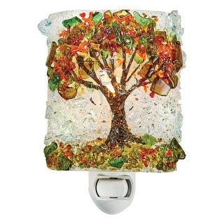 Reborn Glass Four Seasons Night Light: Autumn Tree - Hand Made Fused Glass Art Glass Upcycled Bottle Glass Plug In