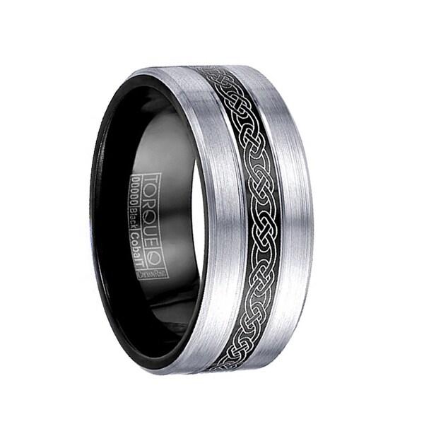 MCCLOUD Torque Black Cobalt Wedding Band Laser Celtic Center Design Brushed Finish with Black Inside by Crown Ring - 9 mm