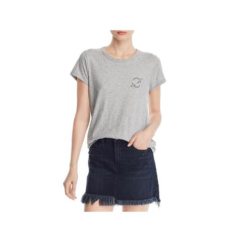 Rag & Bone Womens T-Shirt Logo Short Sleeve - Heather Grey - XS