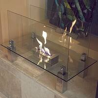 Fiero Freestanding Fireplace Tempered Clear Glass Brushed Stainless Steel