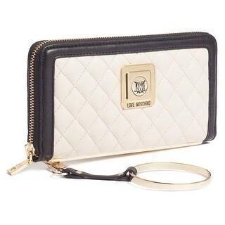 Moschino JC5504 010A Ivory/Black Zip Around Wallet